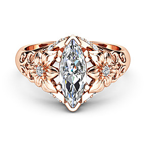 cheap -30%-Women's White Diamond Cubic Zirconia Classic Statement Ring Ring Rose Gold Plated Flower Luxury Unique Design Ring Jewelry Rose Gold For Party Gift Date 6 / 7 / 8 / 9 / 10