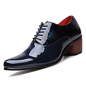 baratos Oxfords Masculinos-Homens Sapatos Confortáveis Couro Ecológico Primavera Casual Oxfords Use prova Preto / Azul Escuro