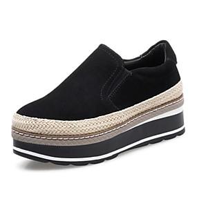 voordelige Damesschoenen met platte hak-Dames Platte schoenen Sleehak Ronde Teen Suède Zoet / minimalisme Herfst Zwart / Zilver
