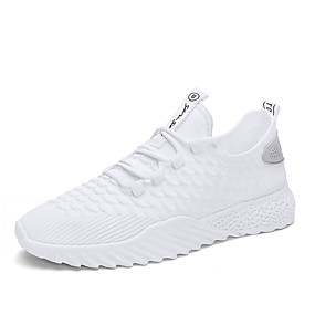 reputable site e6b93 5bf95 Men s Light Soles Elastic Fabric Spring   Summer Sporty   Casual Athletic  Shoes Running Shoes Breathable White   Black   Black   White