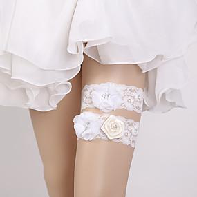 billige Strømpebånd til bryllup-Blonder Bryllup / Elegant Bryllupsklær Med Blomst / Krystall / Rhinestone Strømpebånd Bryllup / Fest