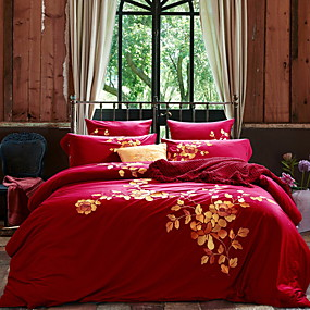 cheap Trend Duvet Covers-Duvet Cover Sets Chinese Red 100% Egyptian Cotton Embroidery 4 PieceBedding Sets