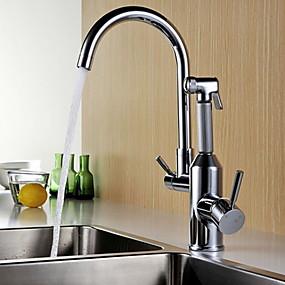 billige Uttrekkbar Spray-Kjøkken Kran - To Håndtak et hull galvanisert standard Tut Vanlig Kitchen Taps