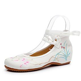 voordelige Damesschoenen met platte hak-Dames Canvas Lente & Herfst Chinoiserie Platte schoenen Heterotypic Heel Ronde Teen Wit / Blauw