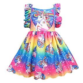 preiswerte Nationale Förderung-Kinder Mädchen Aktiv Festtage Patchwork Gefaltet Ärmellos Knielang Polyester Kleid Regenbogen
