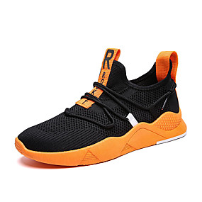 cheap Men's Athletic Shoes-Men's Comfort Shoes Elastic Fabric Spring & Summer / Fall & Winter Sporty / Casual Athletic Shoes Running Shoes Breathable Black / Black / Red / Orange / Black