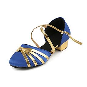billige Moderne sko-Jente Moderne sko Sateng Høye hæler Tykk hæl Dansesko Svart / Rød / Blå