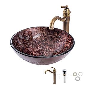 abordables Lavabos-Lavabo de Baño / Grifería de Baño / Anillo de Montura de Baño Clásico - Vidrio Templado Redondo