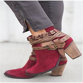 billige Mote Boots-Dame PU Høst vinter Støvler Tykk hæl Ankelstøvler Svart / Beige / Rød
