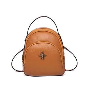 cheap Intermediate School Bags-Women's Bags Cowhide Backpack Zipper Black / Red / Yellow