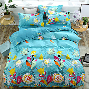 57170d96d0 Duvet Cover Sets Floral / Stripes / Ripples Polyster Reactive Print 4  PieceBedding Sets