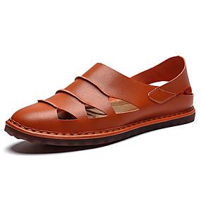 baratos Sandálias Masculinas-Homens Sapatos de Condução Microfibra Verão Casual / Formais Sandálias Respirável Preto / Castanho Claro / Castanho Escuro / Ao ar livre