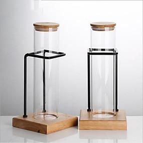 voordelige Koffie en Thee-Glas transparante Body met Cup Stand 1pc Gereedschappen