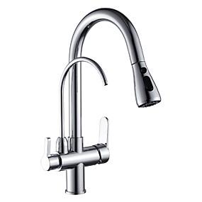 povoljno Pročišćene kuhinjske slavine-Kuhinja pipa - Dvije ručke jedna rupa Chrome Nadgradni umivaonik