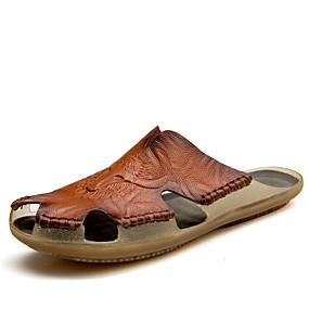 Χαμηλού Κόστους Αντρικές Παντόφλες & Σαγιονάρες-Ανδρικά Παπούτσια άνεσης Δερμάτινο Καλοκαίρι Καθημερινό Παντόφλες & flip-flops Περπάτημα Αναπνέει Μαύρο / Κίτρινο / Σκούρο καφέ