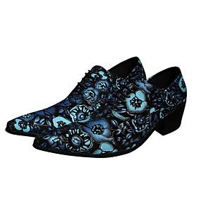 halpa Miesten Oxford-kengät-Miesten Uutuushahmot Nappanahka Kevät kesä Englantilainen Oxford-kengät Korkeus kasvava Sininen / Häät / Juhlat / Juhlat / Oxfords-painatus