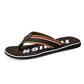 cheap Men's Shoes-Men's Comfort Shoes Canvas Summer Slippers & Flip-Flops Black / Brown