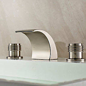 cheap Home Improvement-Bathroom Sink Faucet - Waterfall / Widespread Nickel Brushed Widespread Two Handles Three HolesBath Taps