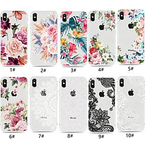 voordelige Telefoons en accessoires-hoesje Voor Apple iPhone XR / iPhone XS Max Transparant / Patroon Achterkant Bloem Zacht TPU voor iPhone XS / iPhone XR / iPhone XS Max