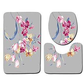 voordelige Matten & Tapijten-1 set Klassiek Badmatten 100g / m² Polyester Gebreid en Gestrekt Bloemenprint Anti-slip