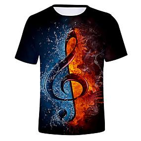 povoljno Special Campaign-Majica s rukavima Muškarci Dnevno Color block / 3D Okrugli izrez Crn XXXXL / Kratkih rukava
