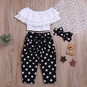 e0ebd7bc92189 رخيصةأون -0.5-مجموعة ملابس بدون كم لون سادة   منقط للفتيات أطفال