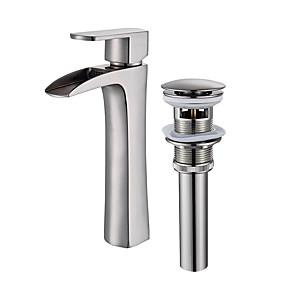 billige Ugentlige tilbud-Baderom Sink Tappekran - Foss Nikkel Børstet Vannrett Montering Enkelt Håndtak Et HullBath Taps