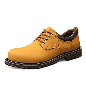 baratos Oxfords Masculinos-Homens Sapatos de couro Pele Napa Primavera / Outono Esportivo / Colegial Oxfords Não escorregar Preto / Amarelo / Khaki
