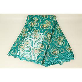 ราคาถูก Crafts&Sewing-ลูกไม้แอฟริกัน ลวดลายดอกไม้ Pattern 130 cm ความกว้าง ผ้า สำหรับ เครื่องแต่งกายและแฟชั่น ขาย โดย 5Yard