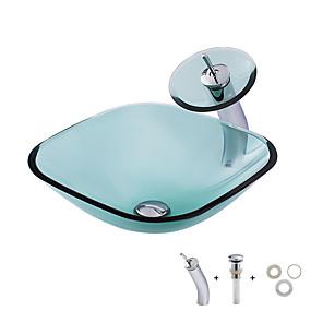voordelige Waskommen-Badkamer Wastafel / Badkamer Montagering / Badkamer Waterafvoer Hedendaagse - Gehard Glas Vierkant