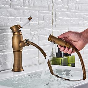billige Ugentlige tilbud-Baderom Sink Tappekran - Træk-udsprøjte Antikk Messing Vannrett Montering Enkelt Håndtak Et HullBath Taps