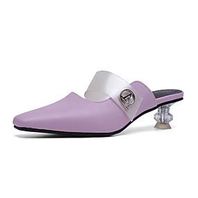 7c75ddc763d9f Women's PU(Polyurethane) Summer Clogs & Mules Crystal Heel Square Toe White  / Black / Purple
