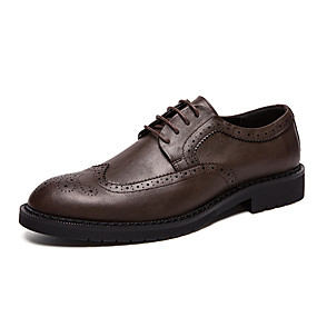 Χαμηλού Κόστους Αντρικά Oxford-Ανδρικά Τα επίσημα παπούτσια Φο Δέρμα / Φουσκωτό πηνίο Ανοιξη καλοκαίρι Δουλειά / Καθημερινό Oxfords Περπάτημα Αναπνέει Μαύρο / Καφέ