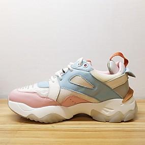 baratos Sapatos Esportivos Femininos-Mulheres Pele Napa Primavera Tênis Corrida Calcanhar escondido Rosa claro