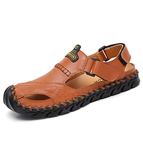 2b8476e97 رجالي أحذية جلدية Leather نابا الصيف رياضي / كاجوال صنادل المشي متنفس أسود  / بني