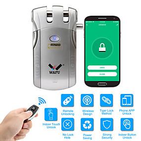 hesapli Kapı kilidi-Wafu wifi uzaktan kumanda akıllı görünmez güvenlik kapı kilidi uygulaması (ios / android sistemi) anti-hırsızlık kapı kilidi ev otel ofis daire için 433 mhz ile (wf-010w)