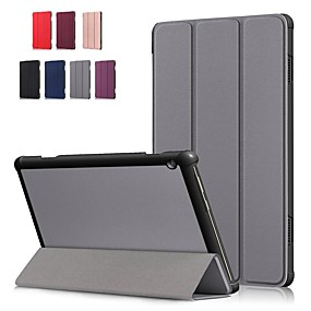billige Andre tilfeller-Etui Til Lenovo Lenovo Tab E10 (TB-X104) / Lenovo Tab M10 (TB-X605F) / Lenovo Tab P10 (TB-X705F / L) Støtsikker / Flipp / Origami Heldekkende etui Ensfarget Hard PU Leather