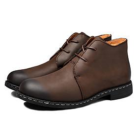 baratos Botas Masculinas-Homens Sapatos de couro Couro / Pele Napa Primavera / Outono Clássico / Formais Botas Não escorregar Preto / Marron / Escritório e Carreira