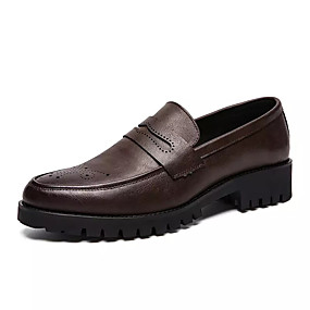 cheap Men's Slip-ons & Loafers-Men's Bullock Shoes Cowhide Spring Casual Loafers & Slip-Ons Breathable Black / Brown