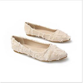 voordelige Damesschoenen met platte hak-Dames Suède Lente Platte schoenen Platte hak Wit / Zwart / Grijs