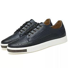 abordables Chaussures homme-Homme Chaussures de confort Cuir Printemps Simple Basket Respirable Noir / Bleu