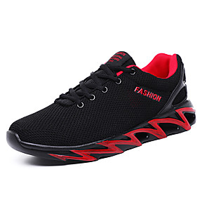 cheap Running Shoes-Men's Comfort Shoes Elastic Fabric Spring & Summer Sporty / Casual Athletic Shoes Running Shoes Breathable Black / Black and White / Black / Red