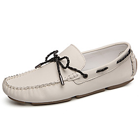 baratos Sapatos Náuticos Masculinos-Homens Mocassim Pele Outono / Primavera Verão Clássico / Casual Sapatos de Barco Não escorregar Preto / Bege