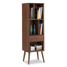 cheap Living Room Furniture-Mid-Century Modern Bookcase Display Shelf in Walnut Wood Finish