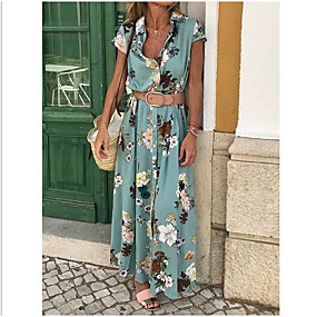 povoljno Plan Your Summer-Žene Pamuk Slim Korice Haljina V izrez Maxi