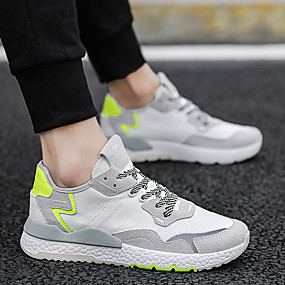 cheap Running Shoes-Men's Comfort Shoes Faux Leather Spring & Summer Sporty / Preppy Athletic Shoes Running Shoes / Walking Shoes Breathable Black / White / Green