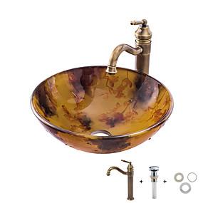 abordables Eviers-Lavabo de Salle de Bain / Robinet de Salle de Bain / Bague de Fixation de Salle de Bain Antique - Verre Trempé Rond Vessel Sink