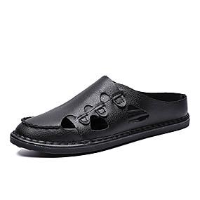 baratos Tamancos Masculinos-Homens Sapatos Confortáveis Pele Verão Casual Tamancos e Mules Respirável Preto / Azul Escuro / Marron
