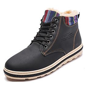 baratos Botas Masculinas-Homens Sapatos Confortáveis Couro Ecológico Inverno Botas Botas Curtas / Ankle Preto / Khaki