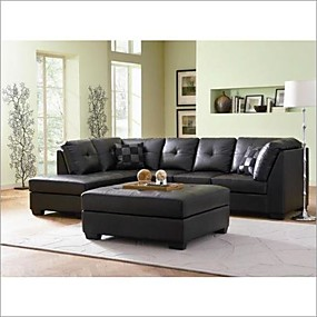 cheap Living Room Furniture-Black Faux Leather Sectional Sofa with Left Side Chaise